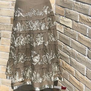 Prairie Skirt Ruffle Ribbon Taupe Brown Boho Med